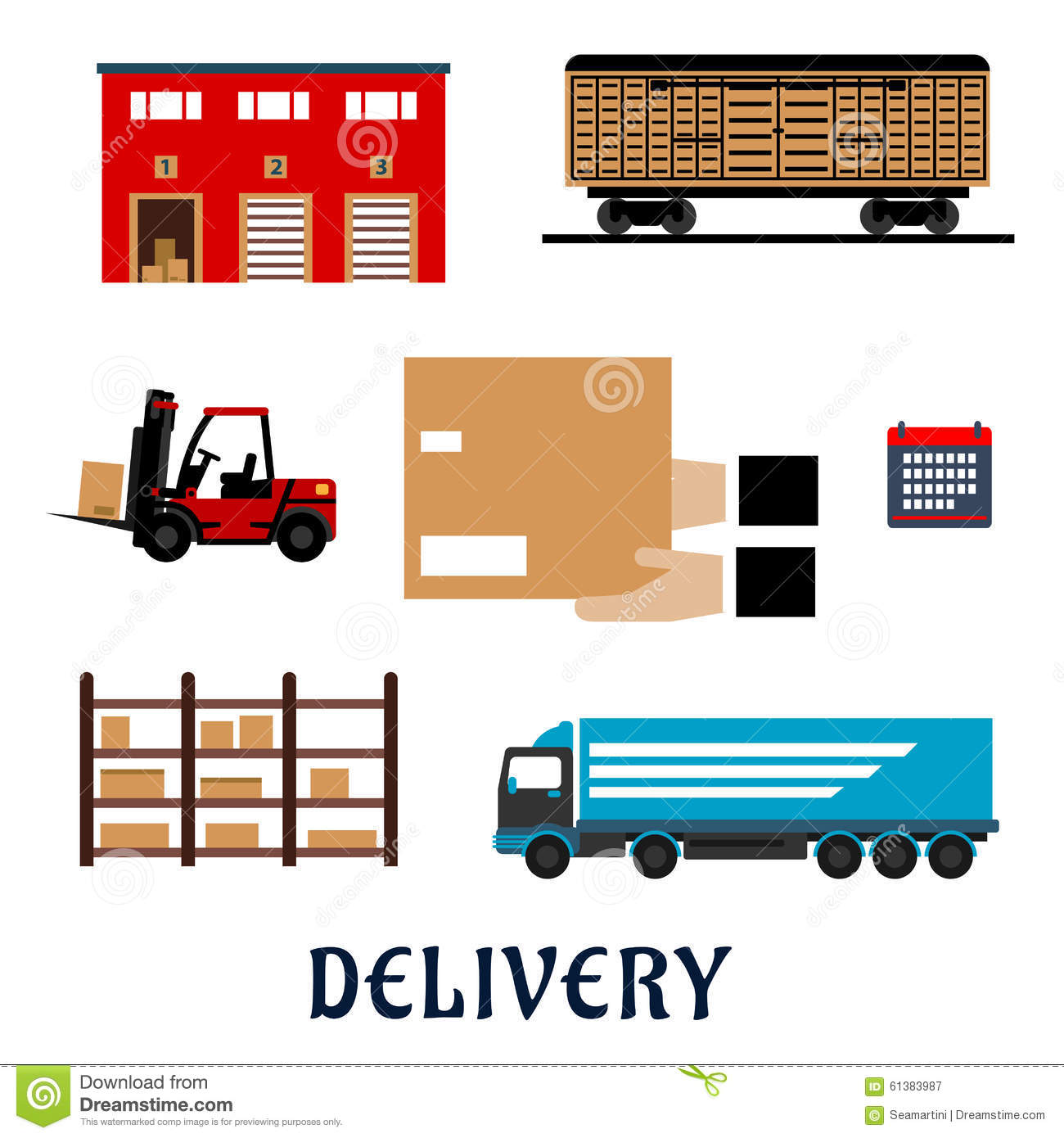 Delivery And Storage Service Flat Icons