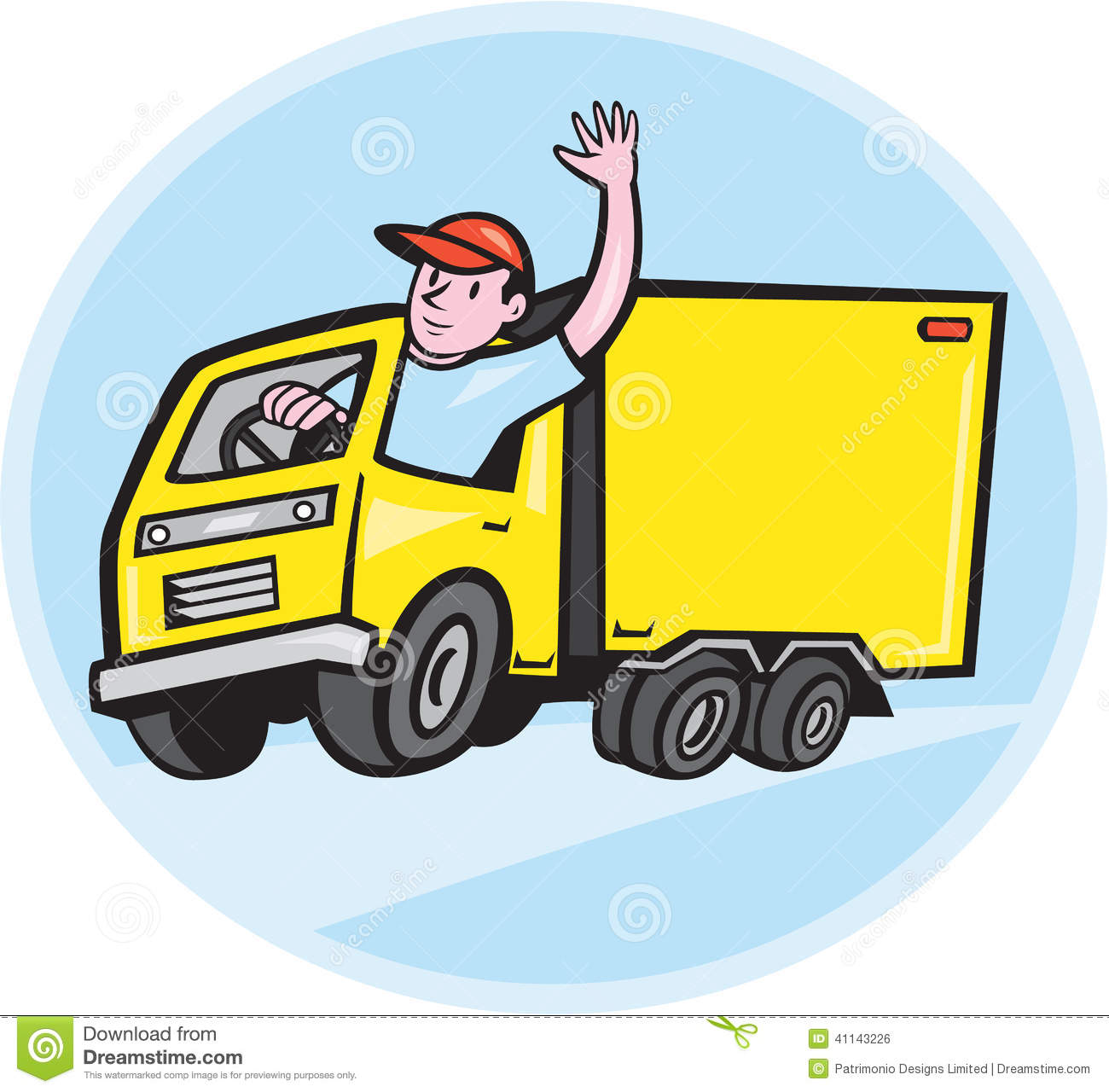 Delivery Truck Driver Waving Cartoon Stock Vector - Image: 41143226