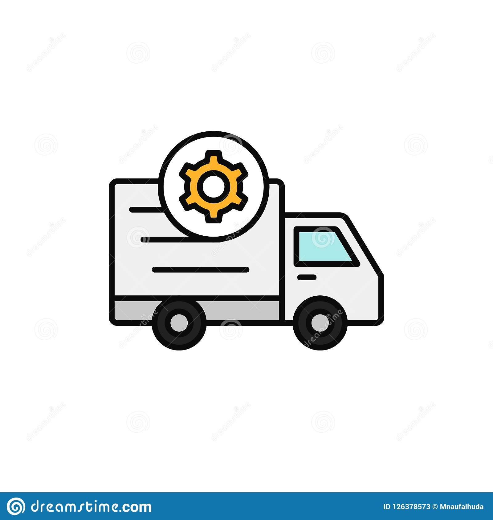 Delivery truck gear icon. shipment setting or machine car problem illustration. simple outline vector symbol design.