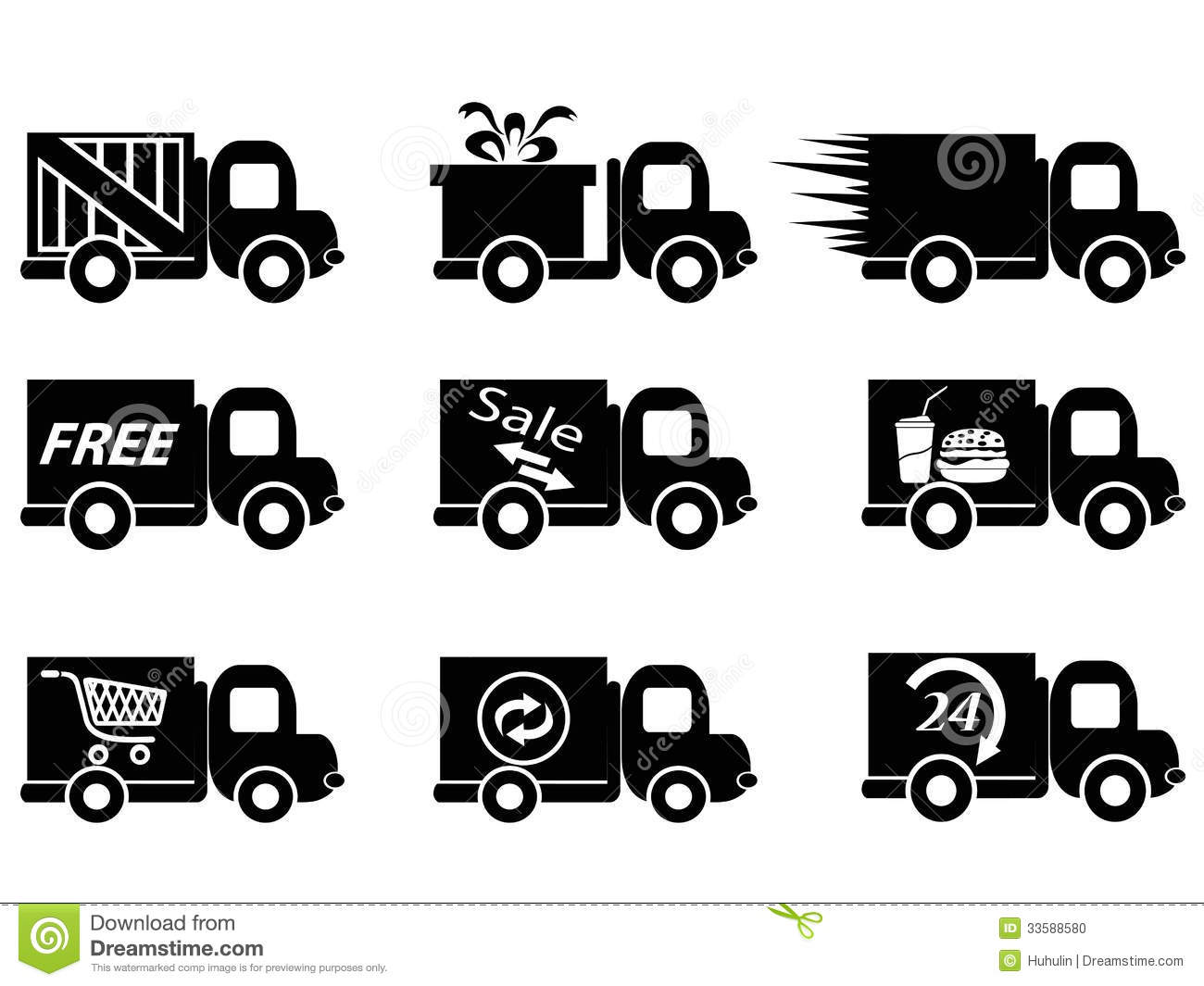 Expensive Car For Sale Or Gift Royalty Free Stock Image: Delivery Truck Icons Stock Photo