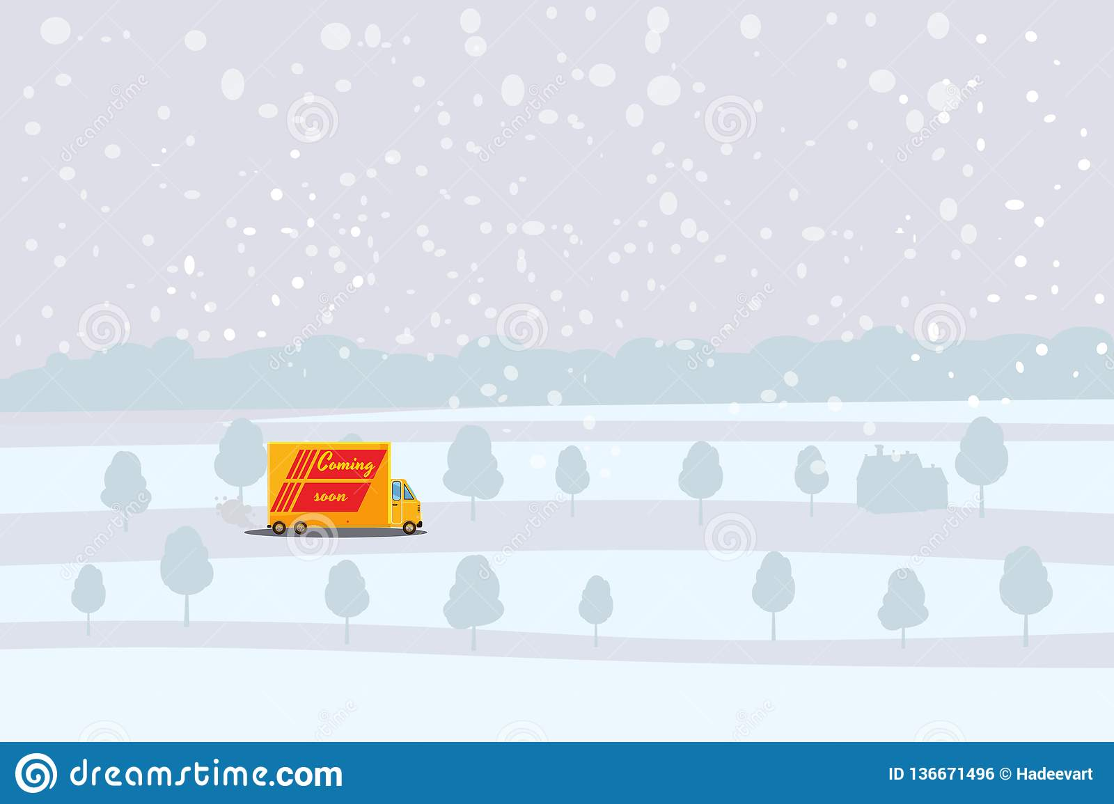 Delivery truck rides on the snow-covered road, concept, fast and convenient delivery of cargo and parcels. Product goods