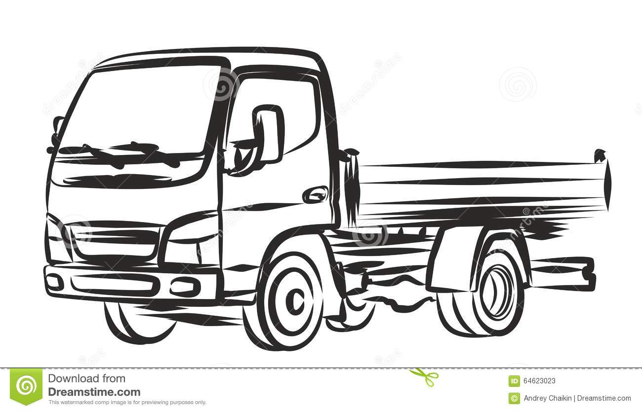 delivery truck  sketch  stock vector