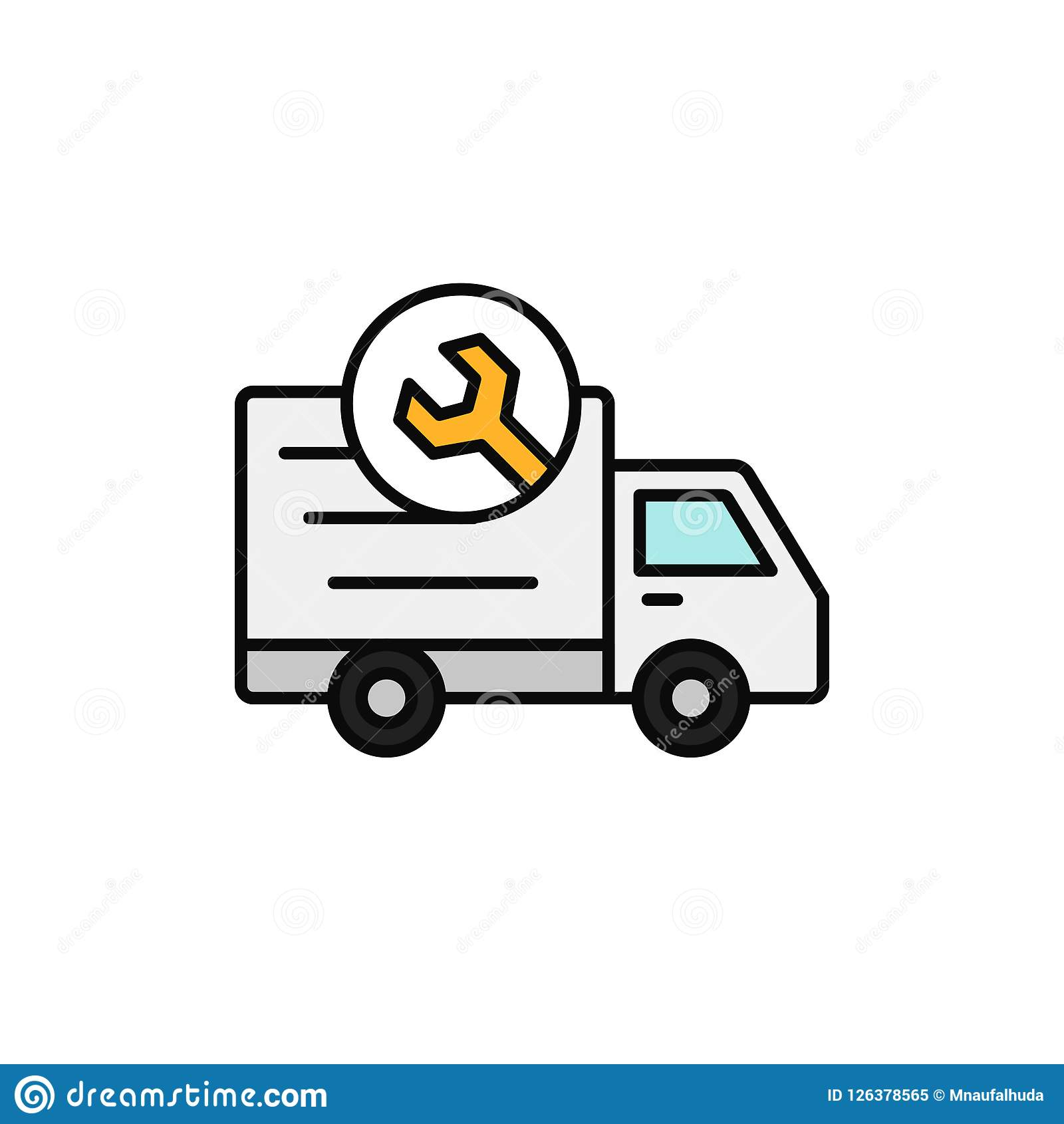 Delivery Truck With Wrench Icon Shipment Car Under Repair In
