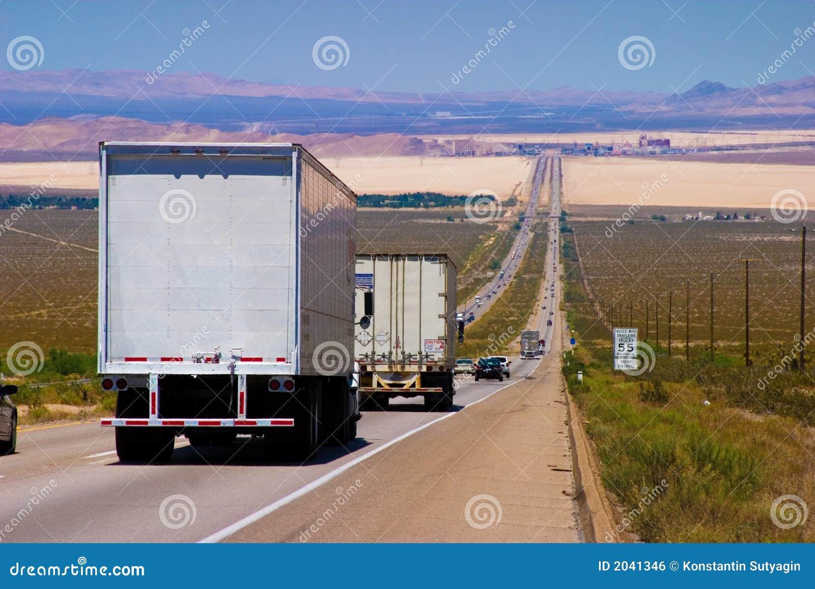 Delivery trucks highway