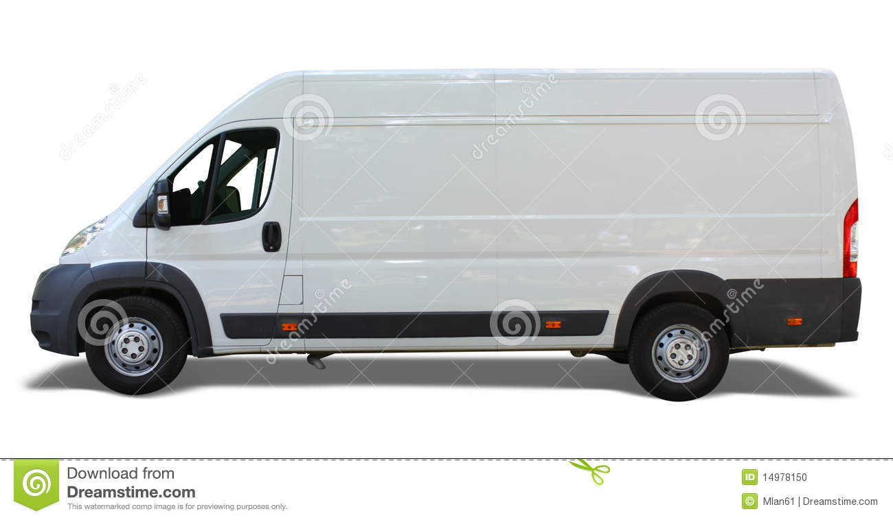 White delivery van isolated on white background.