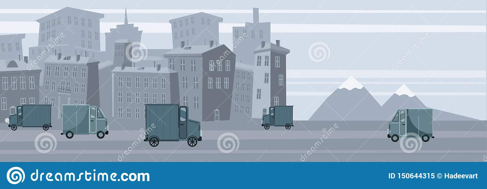 Delivery, truck transporting cargo to the recipient, urban landscape background, vector, banner, illustration, cartoon