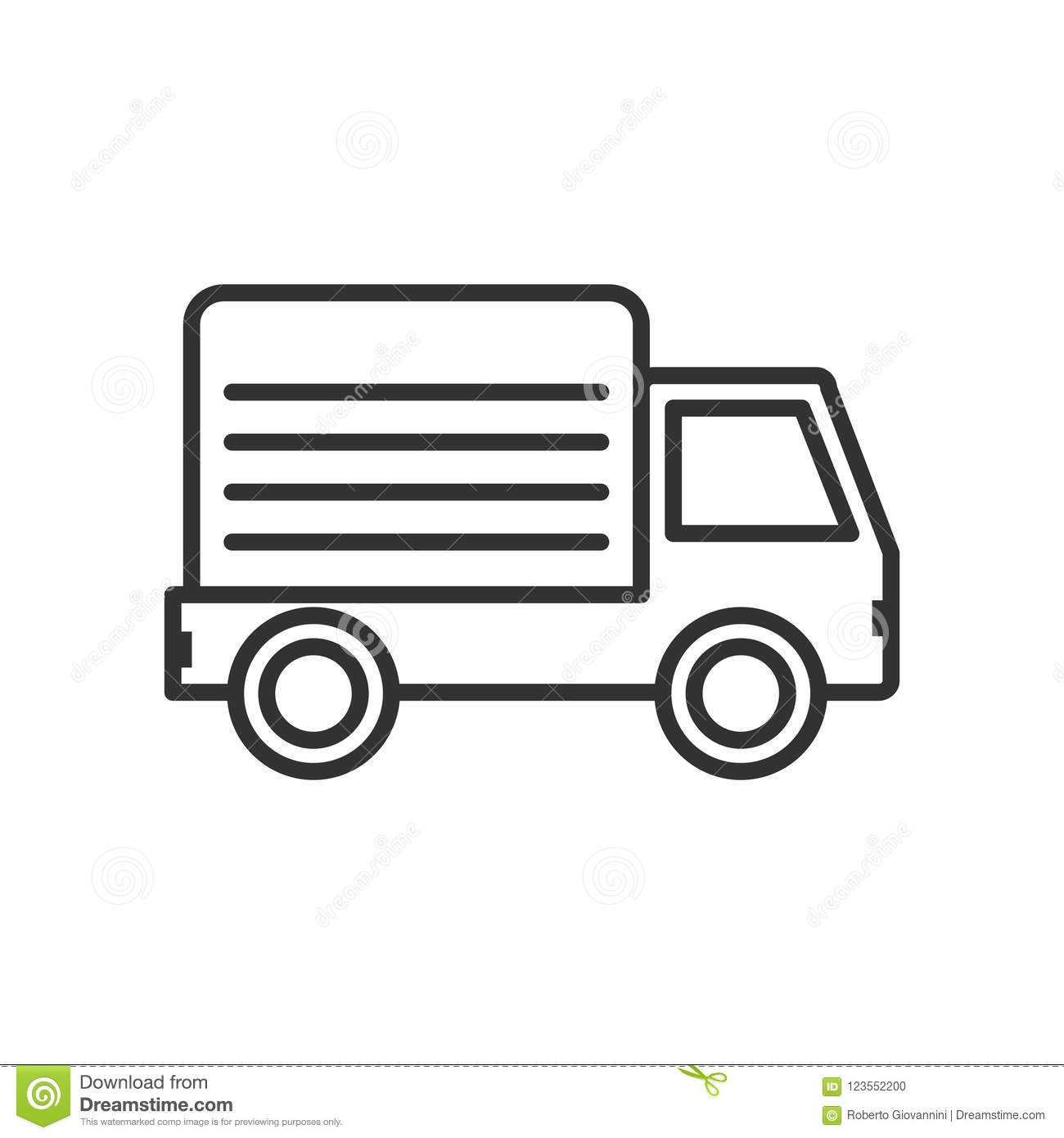 Delivery Van Outline Flat Icon on White