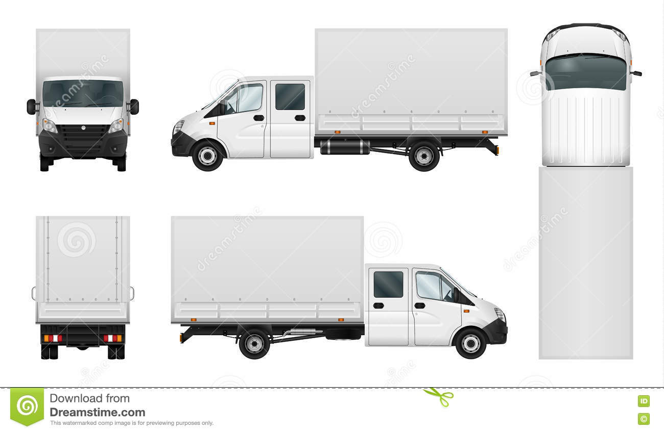 Delivery Van Vector Template On White Stock Vector ...