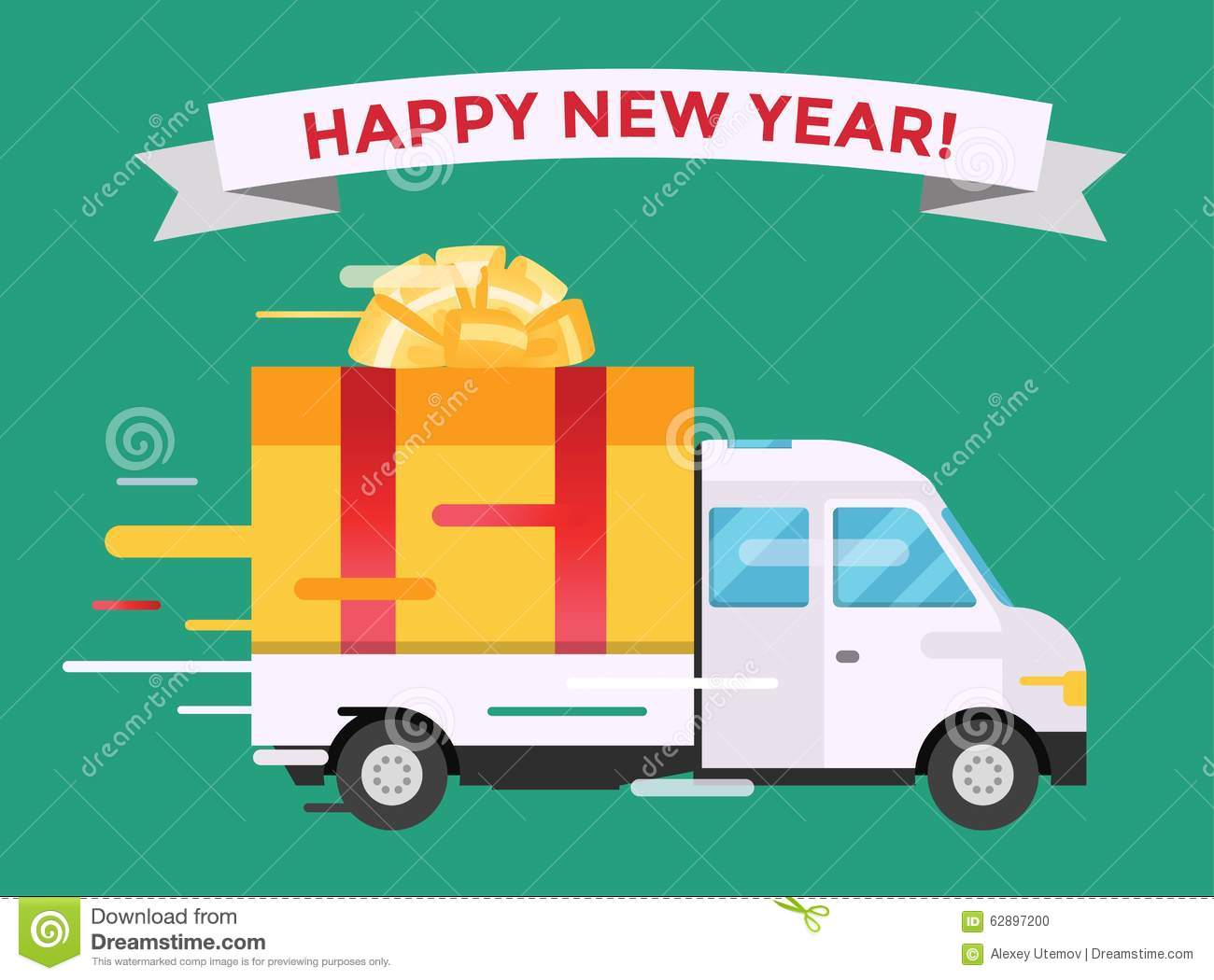 Delivery vector transport truck van christmas gift stock vector delivery vector transport truck van christmas gift box bow ribbon delivery service van new year greeting card delivery truck gift box m4hsunfo