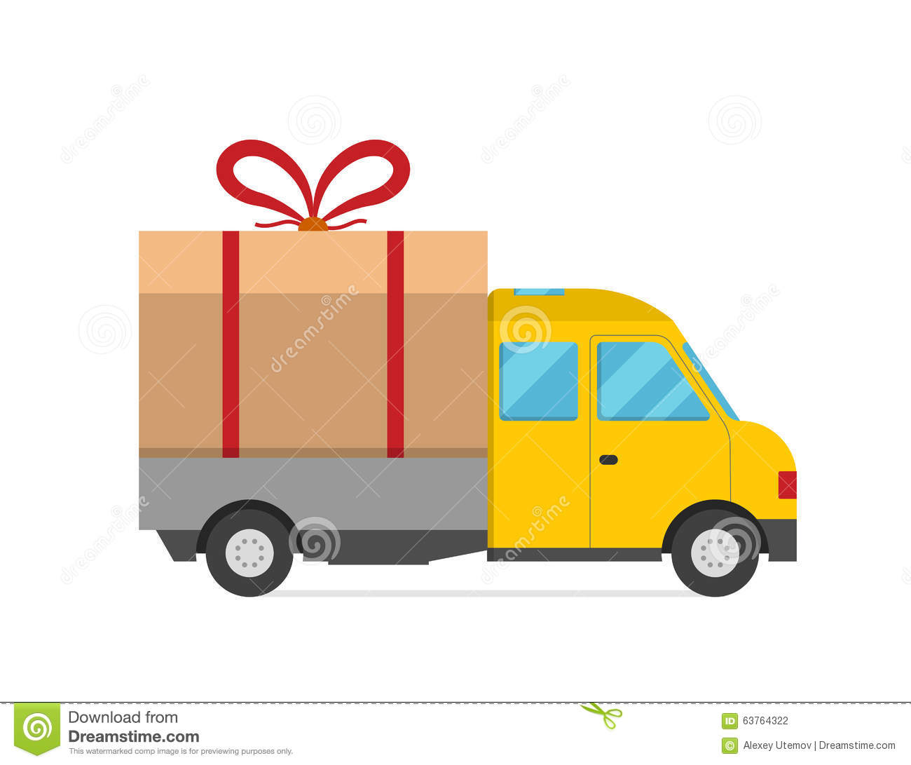 ... Transport Truck Van Christmas Gift Stock Vector - Image: 63764322