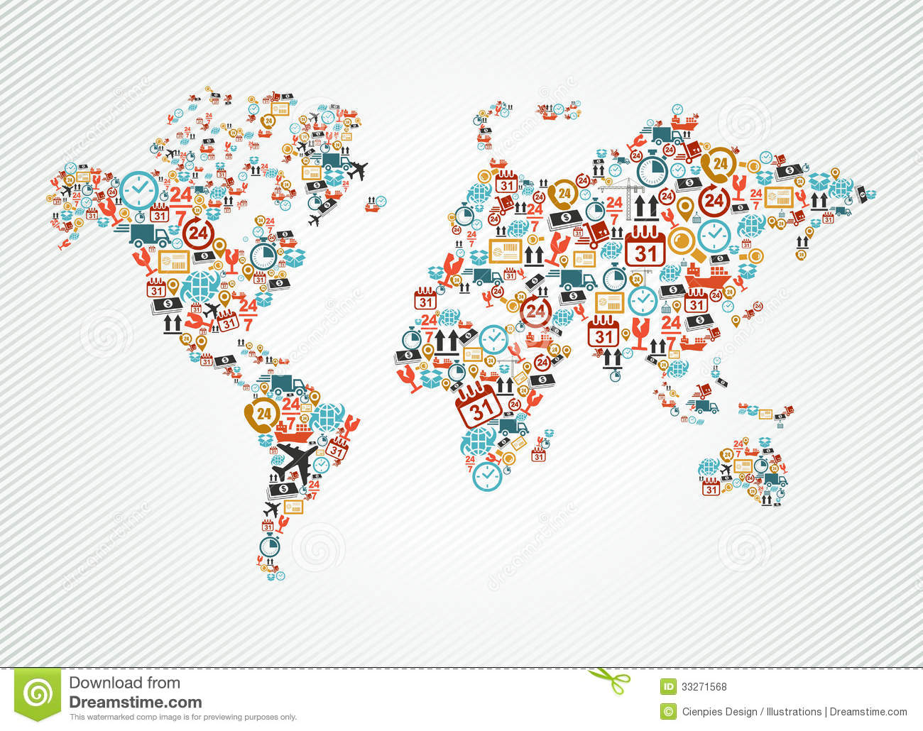 Delivery world map colorful shipping web icons ill stock vector royalty free stock photo gumiabroncs Gallery