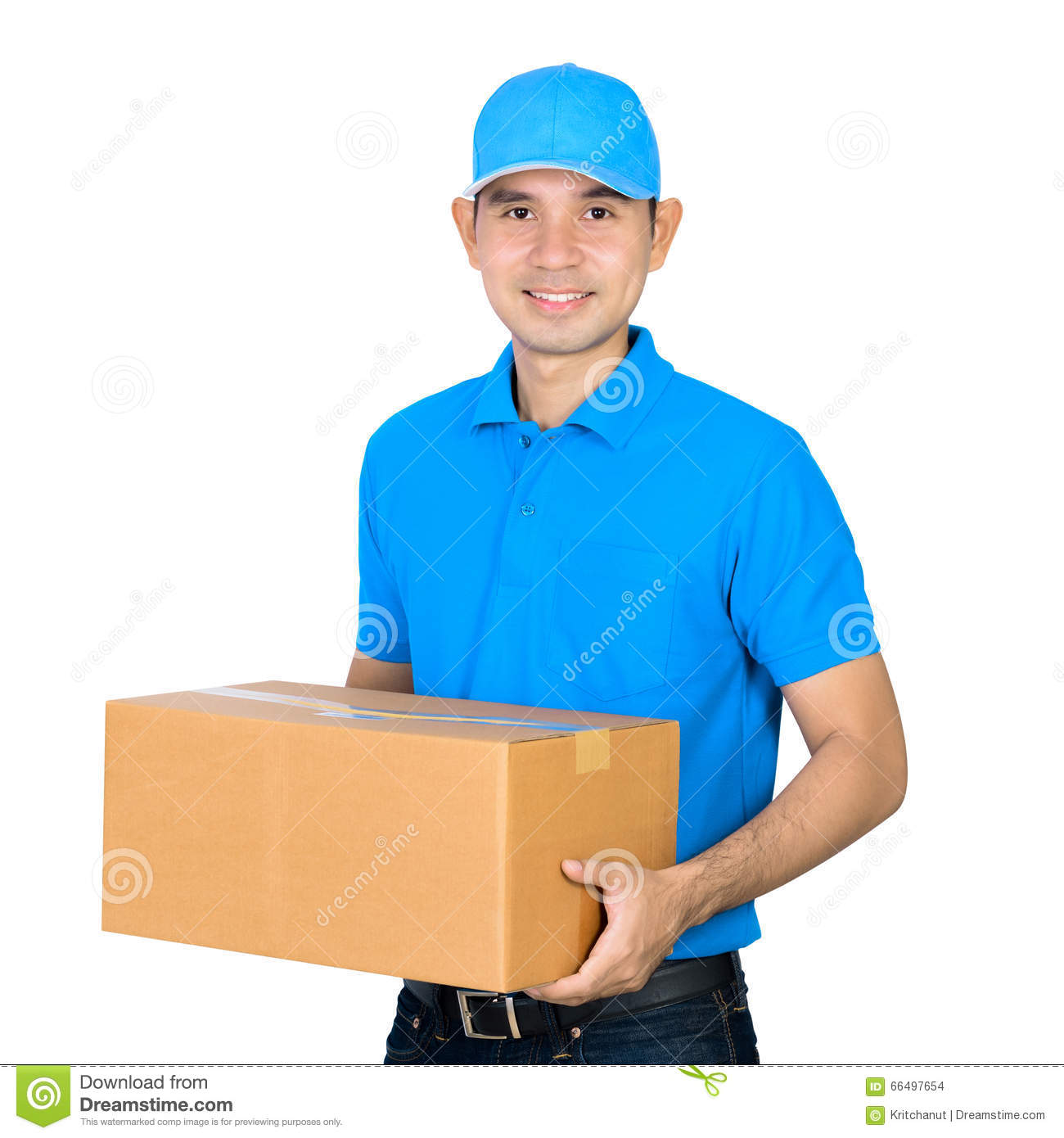 Deliveryman Carrying A Cardboard Parcel Box Stock Photo ...