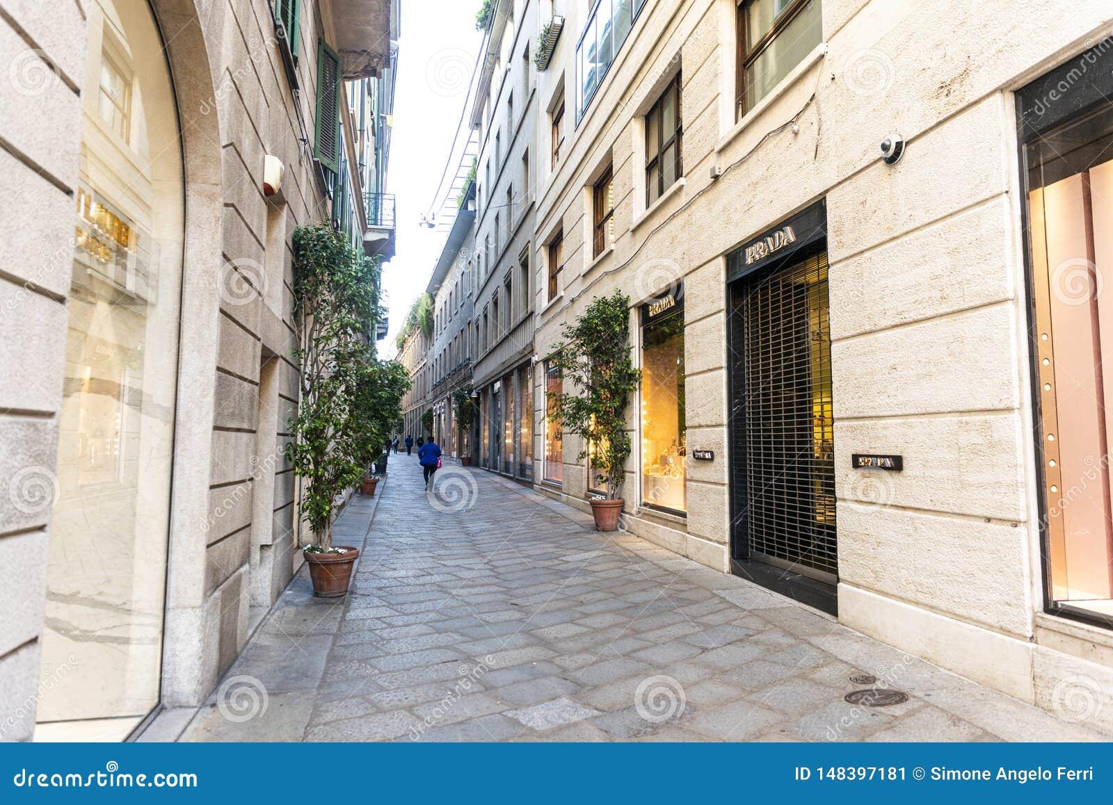 Della Spiga-Einkaufen und Luxusstraße in der Mitte von Mailand