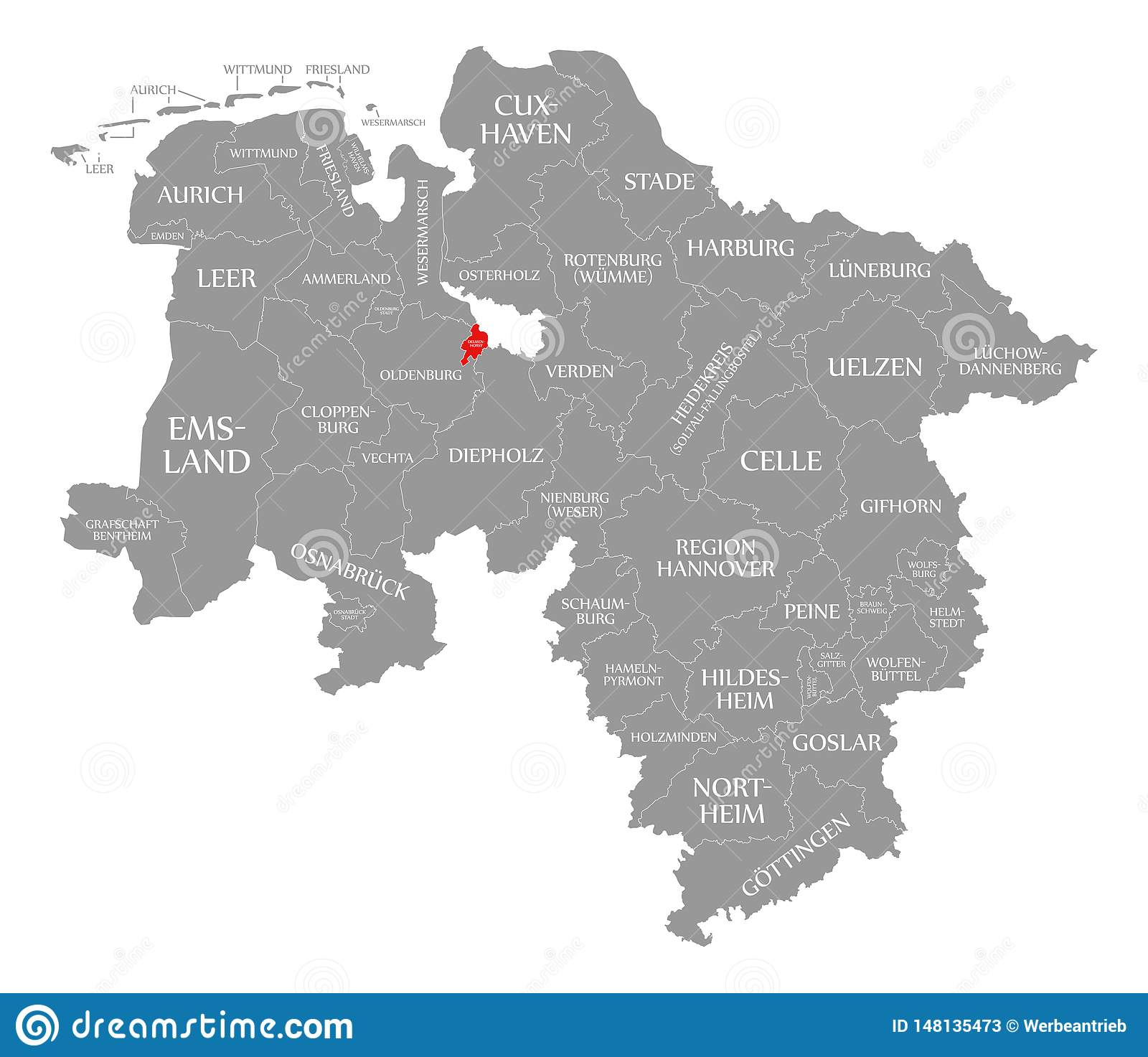 Simple Map Of Germany.Delmenhorst County Red Highlighted In Map Of Lower Saxony Germany