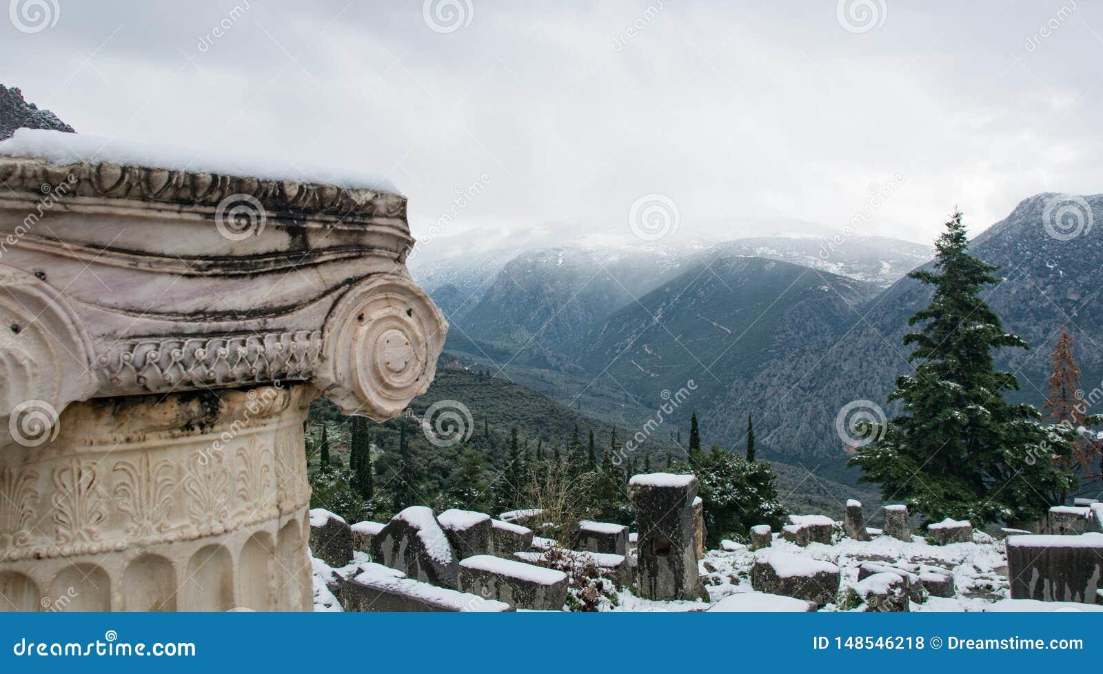 Delphi arkeologisk plats Sikt till de närliggande bergen