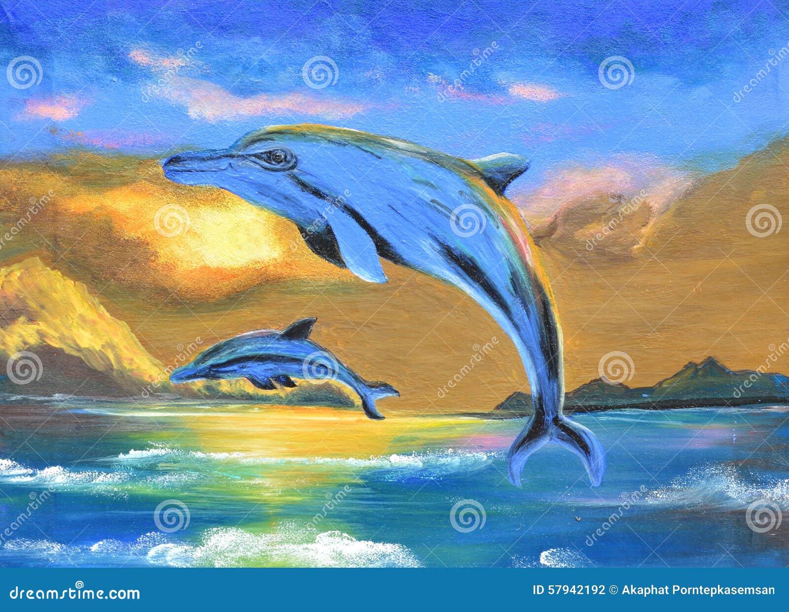 Delphin im Seeölgemälde auf Segeltuch