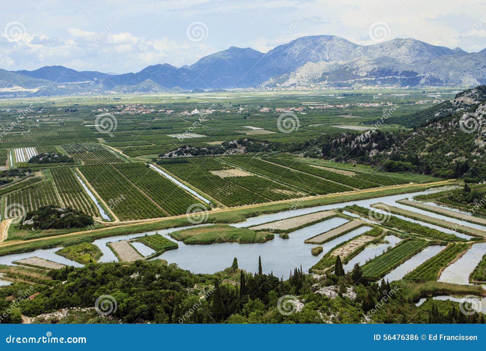 Delta de fleuve de Neretva en Croatie