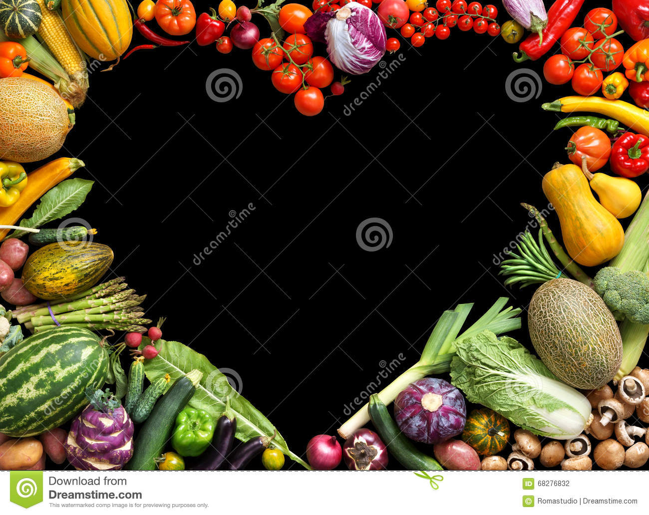Deluxe Heart symbol. Food photography of heart made from different fruits and vegetables