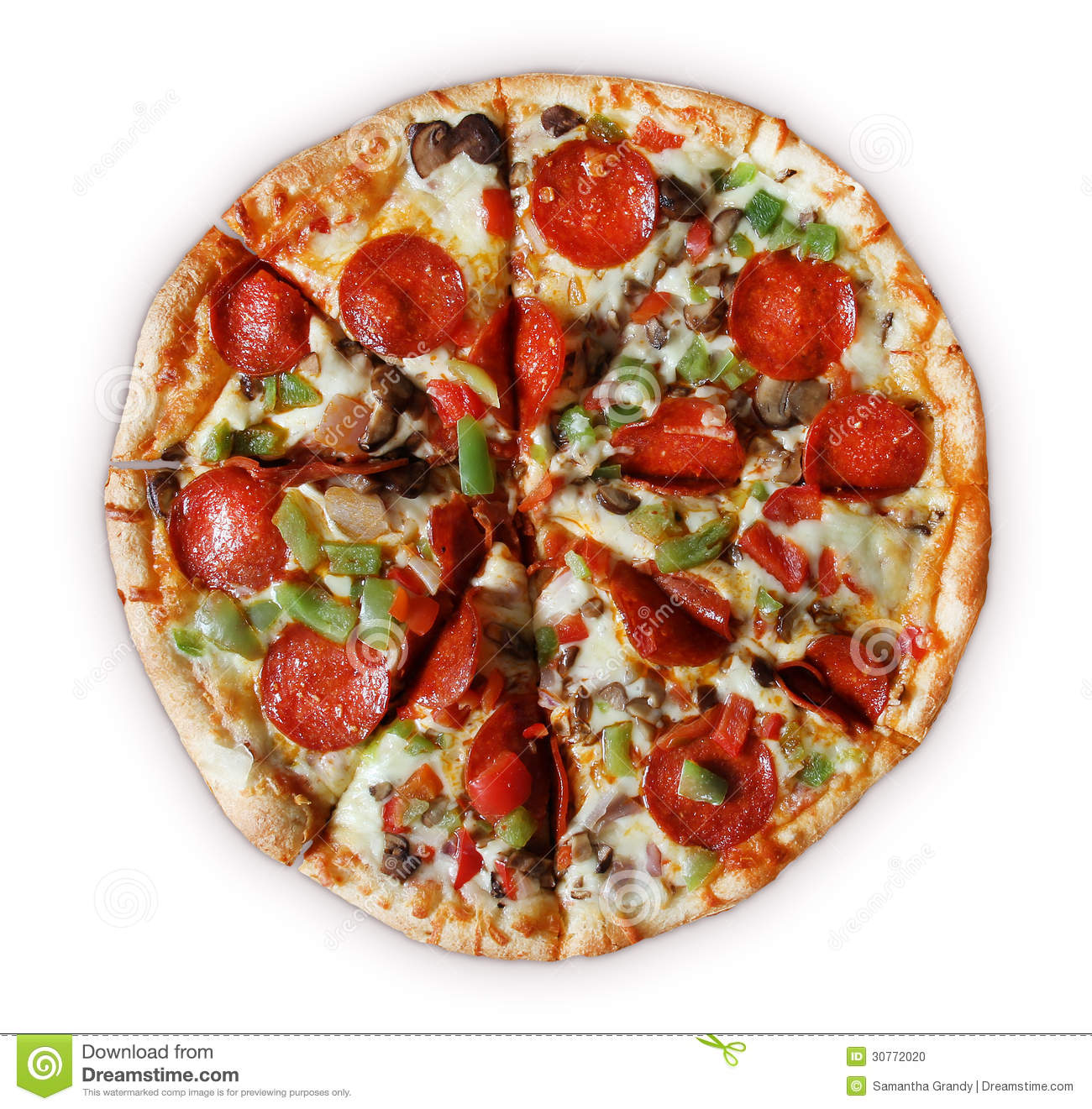 pizza with pepperoni, red onion, red pepper, green pepper, mushroom ...