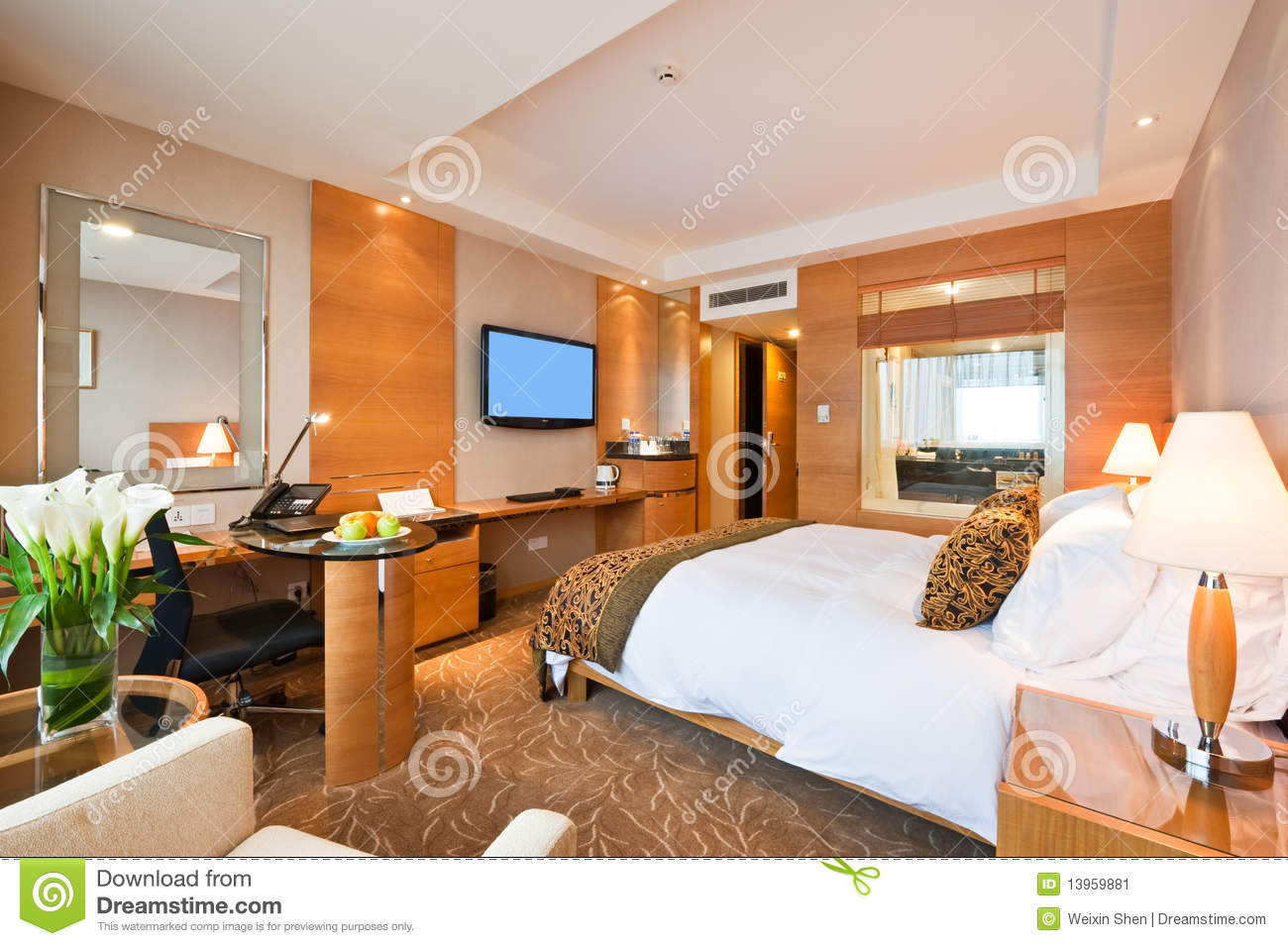 Deluxe Single Room In Hotel Stock Image Image 13959881