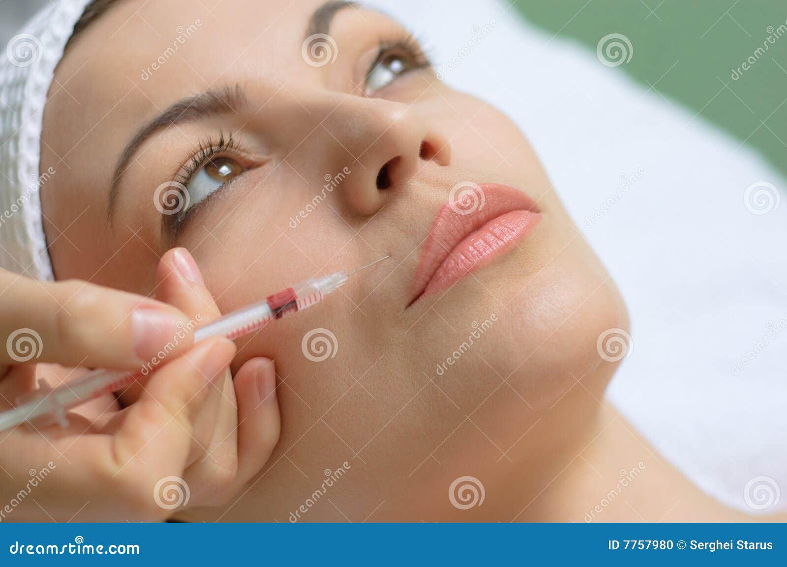 Demande de règlement de beauté, injection de botox