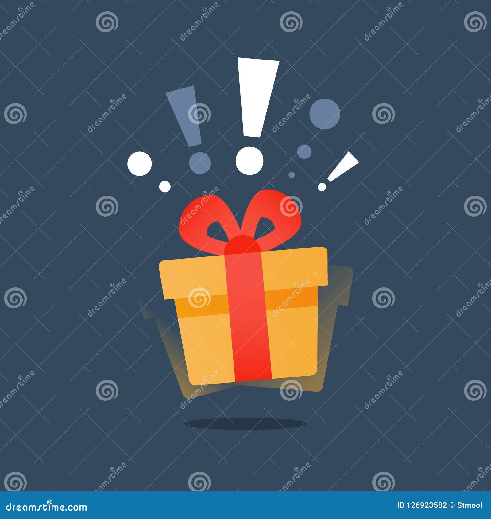 La Boite Jaune Prix demandez-vous le cadeau avec la marque d'exclamation
