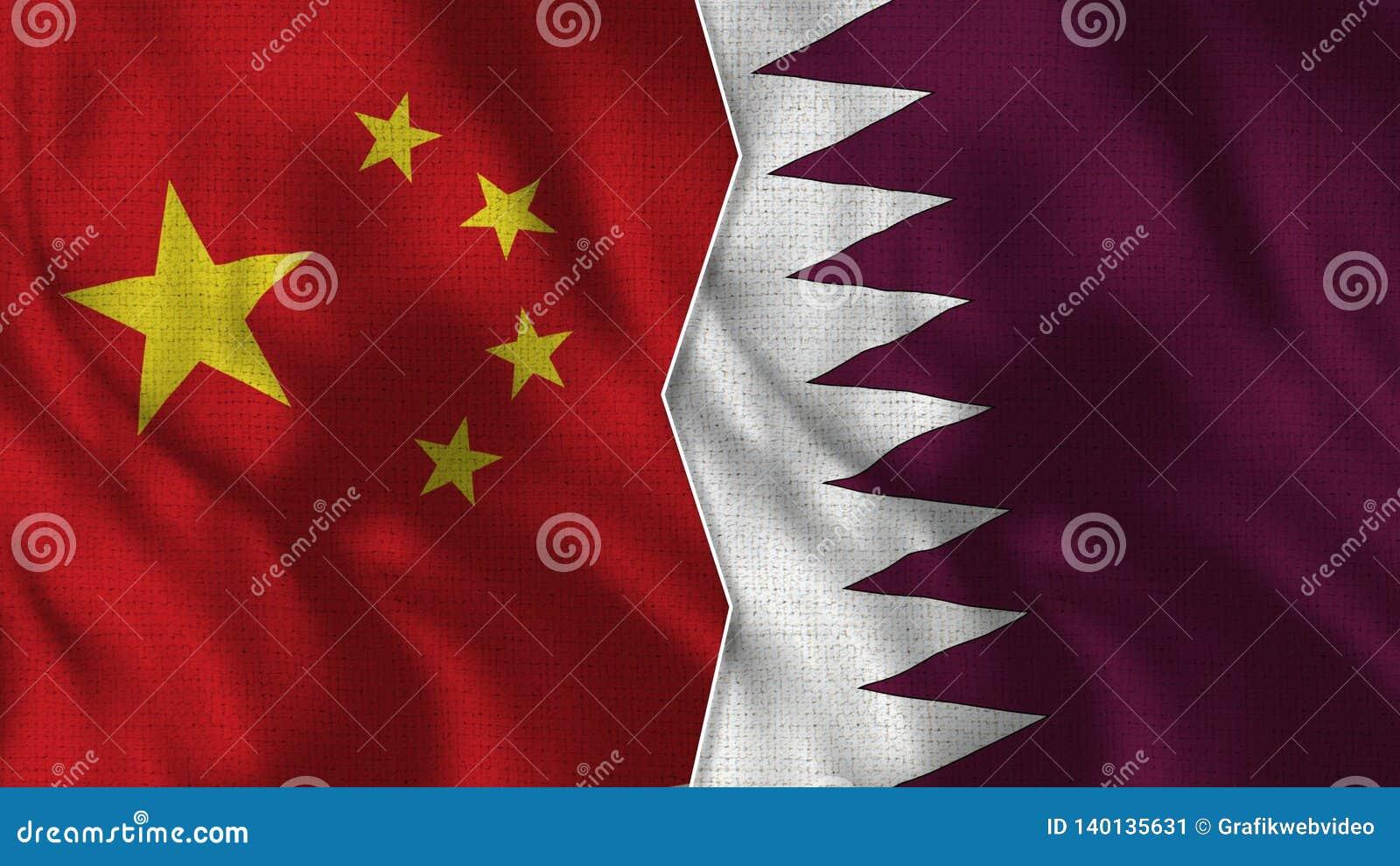 Demi drapeaux de la Chine et du Qatar ensemble