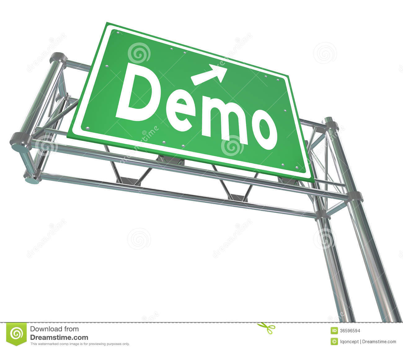 Demo word green freeway sign product demonstration free