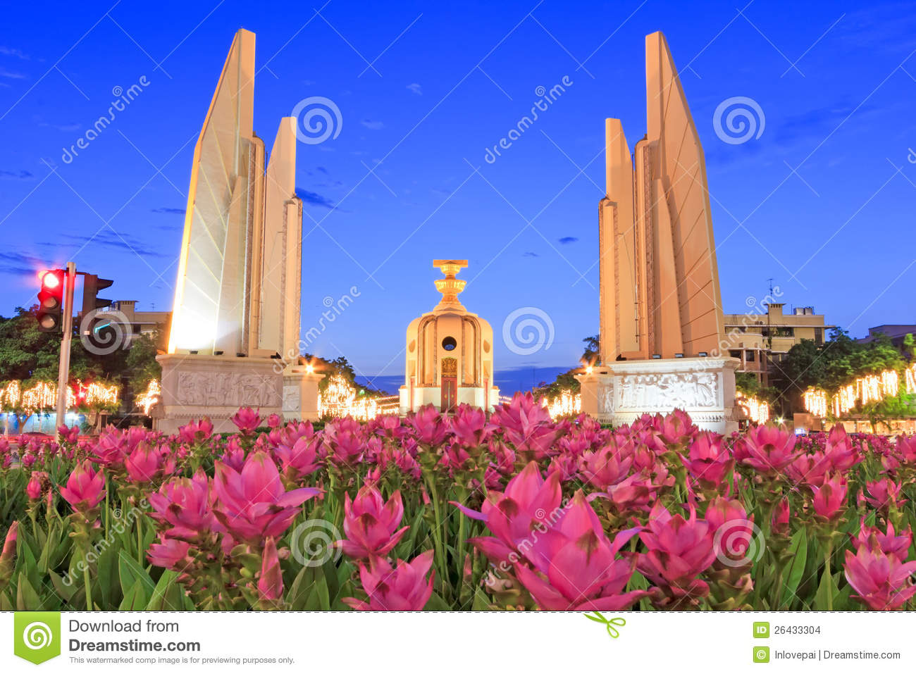 The Democracy Monument at twilight time