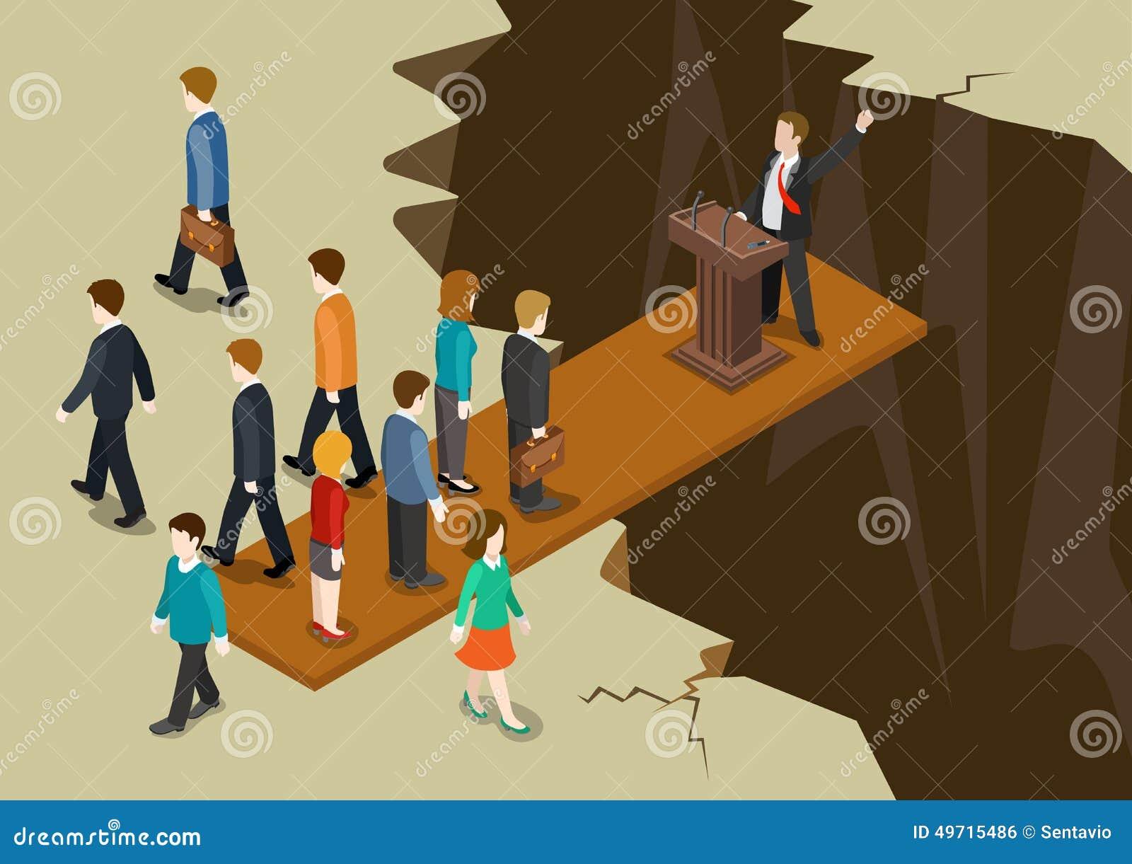 Democracy politics system imbalance collaple concept flat 3d web isometric