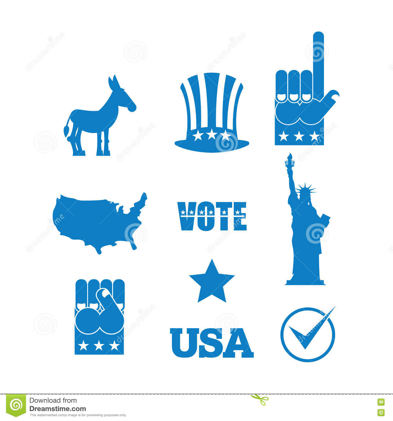 Democrat Donkey Election Icon Set Symbols Of Political Parties
