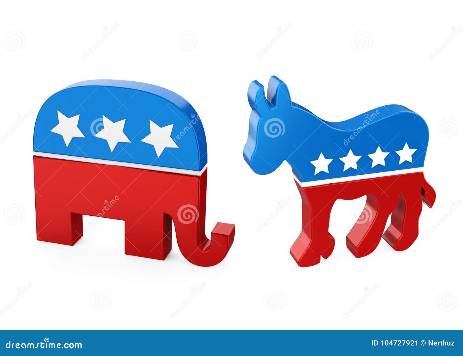 democrat donkey and republican elephant editorial photo