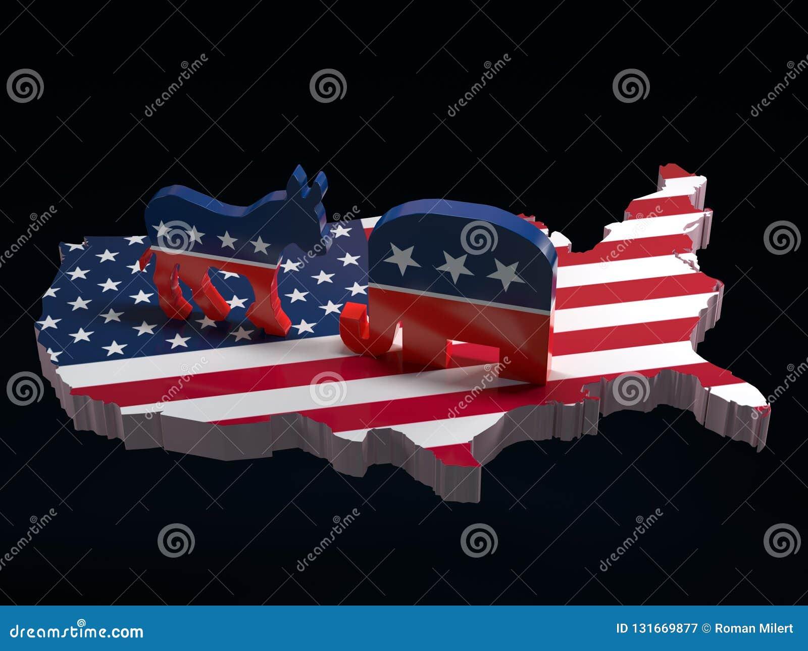 Democratenezel versus de symbolen van de Republikeinenolifant op de kaart van de V.S.