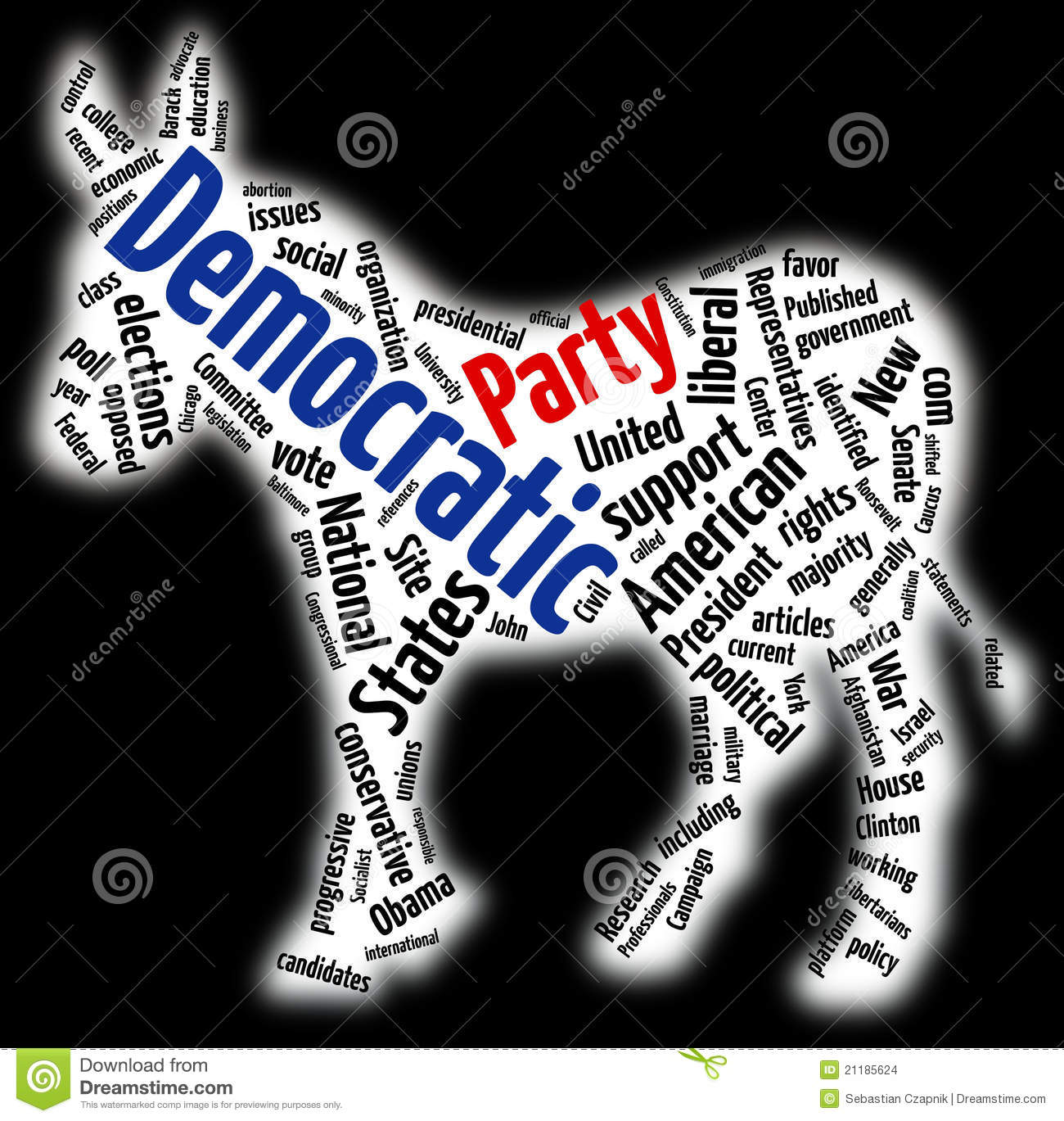 Democratic Party Word Cloud Editorial Stock Image - Image: 21185624