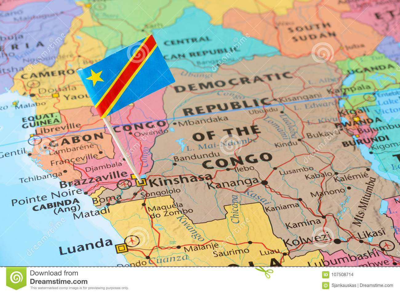Congo Kinshasa Map Africa.The Democratic Republic Of The Congo Flag Pin On Map Stock