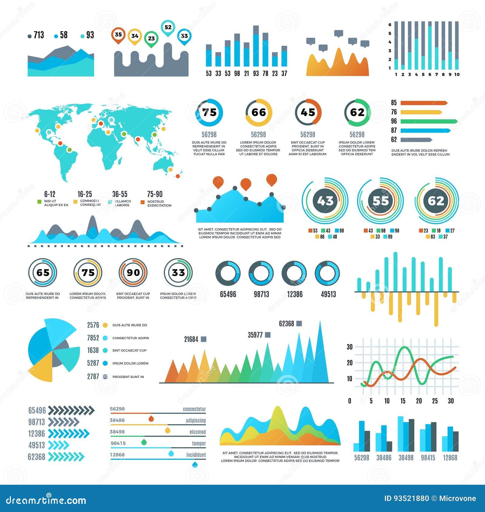 Demographics del negocio y elementos infographic de las estadísticas con las cartas, los diagramas y el sistema coloridos del vec