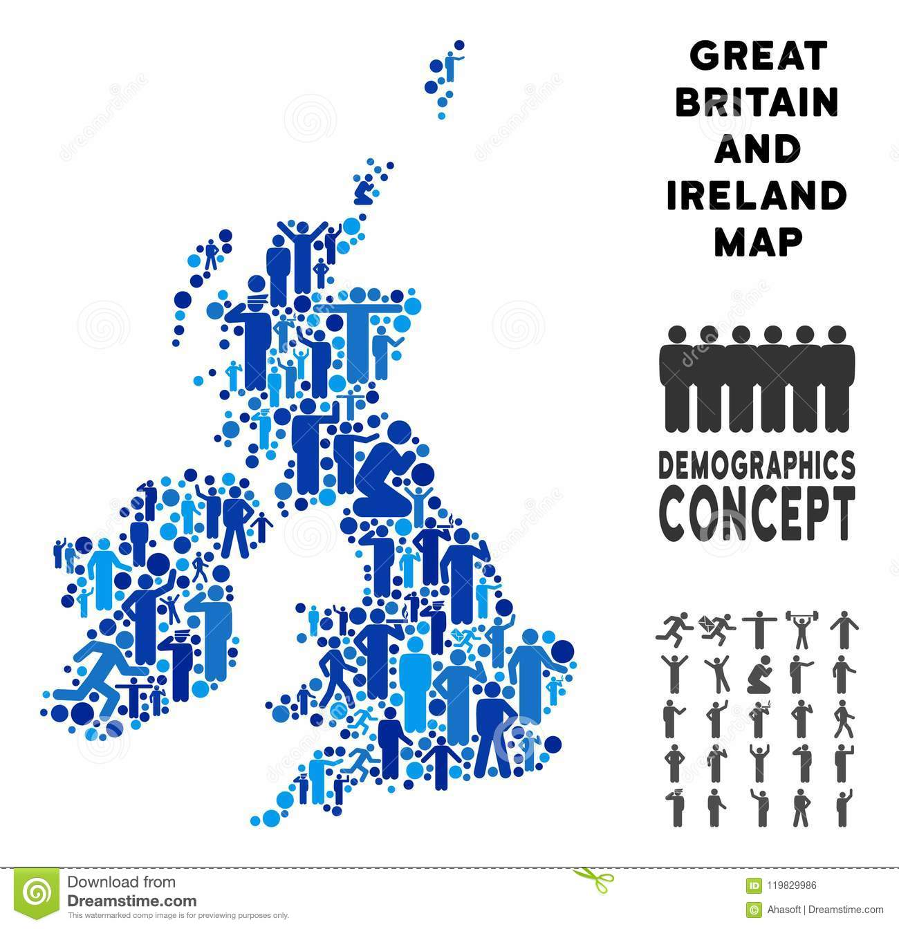 Britain England Map.Demographics Great Britain And Ireland Map Stock Vector