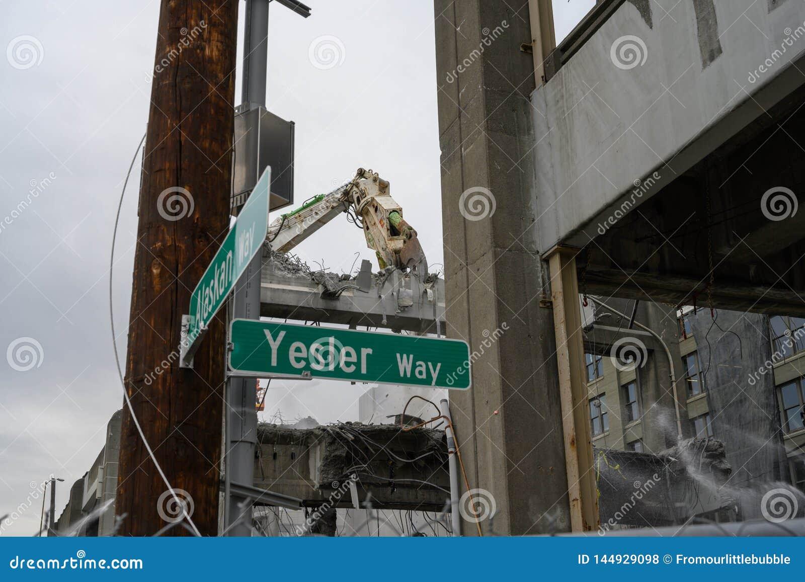 Demolici?n del viaducto de Seattle de Alaska y Yesler