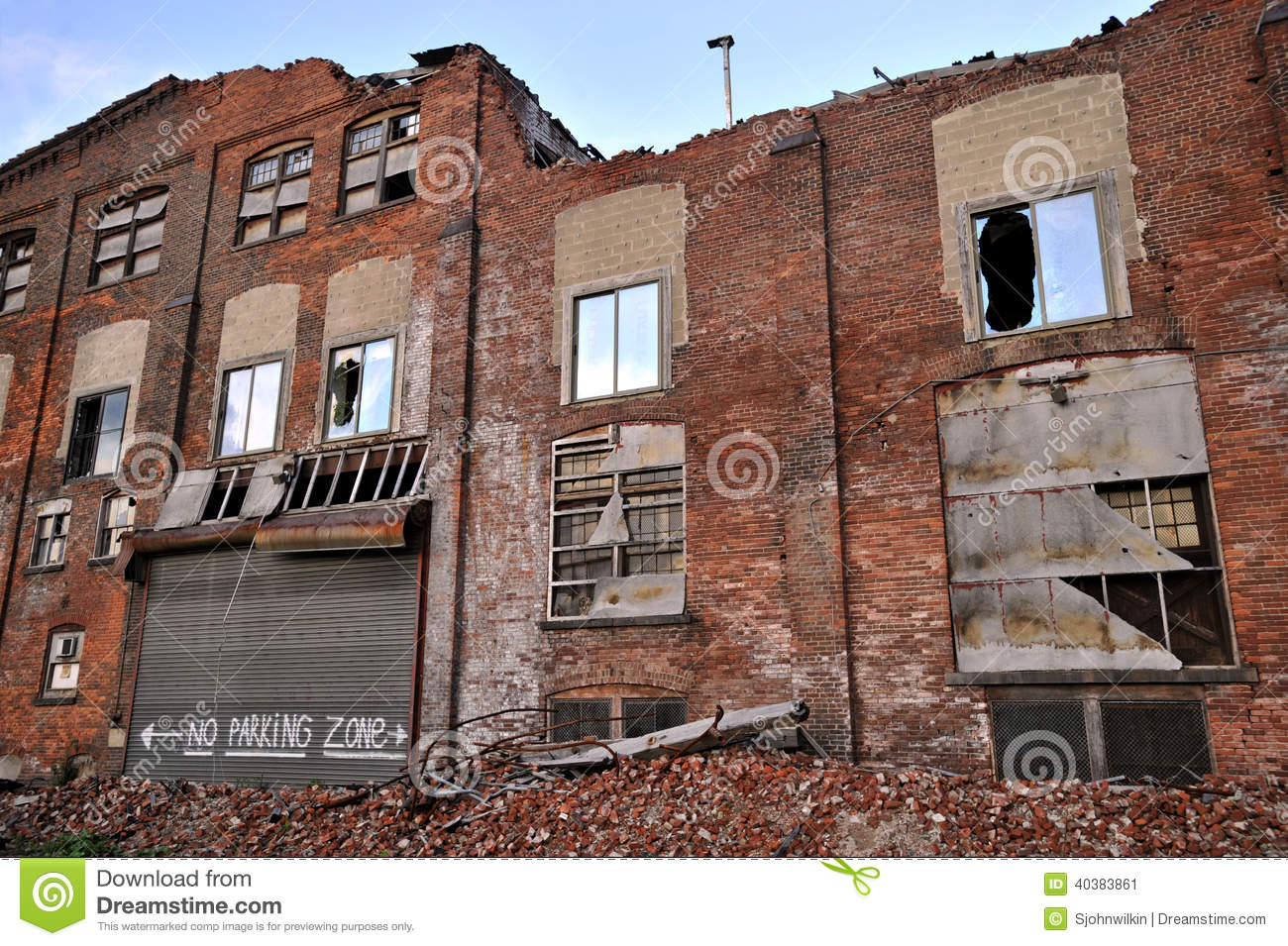 Building Falling Down : Demolished building stock photo image