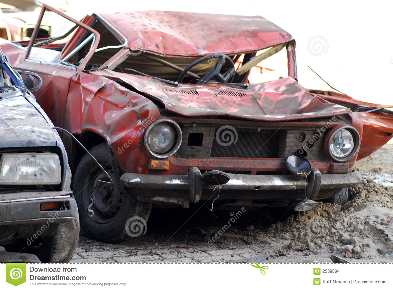 Demolished Cars In Junkyard Stock Photo - Image of wrecked, junks ...