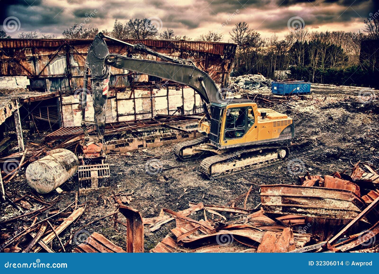 Demolition crane in a grunge background Demolition Crane