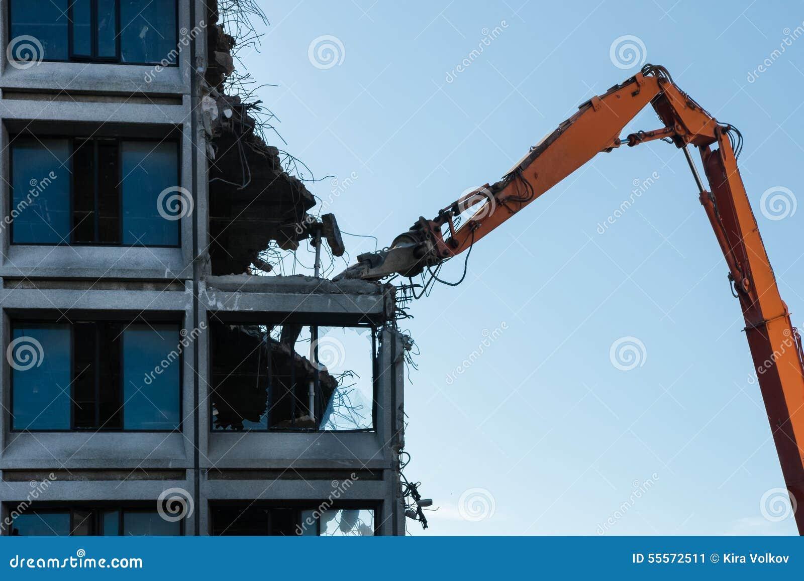 Building Demolition Cartoon : Demolition of the building royalty free stock image