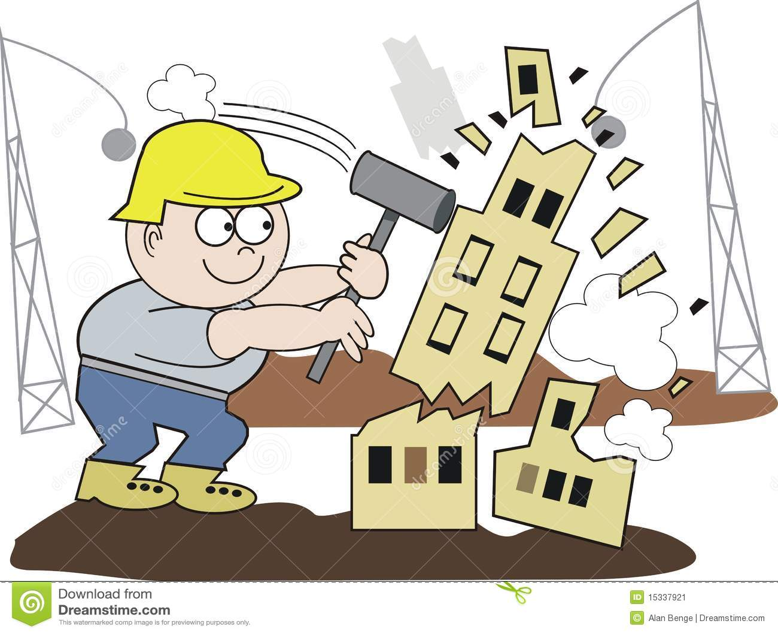Building Demolition Cartoon : Demolition man cartoon stock vector image of worker