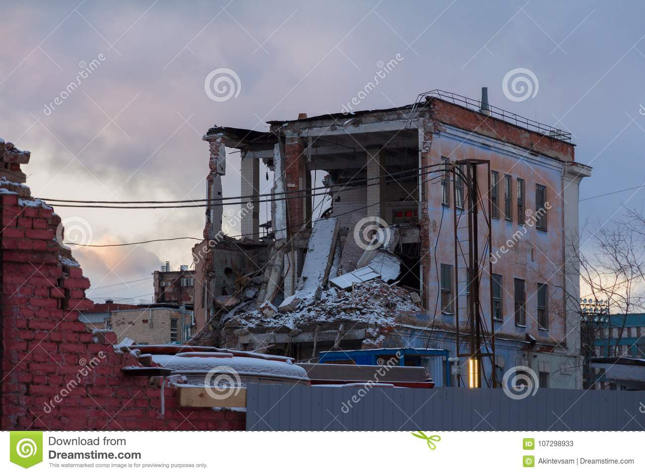 Demolition of an old brick house