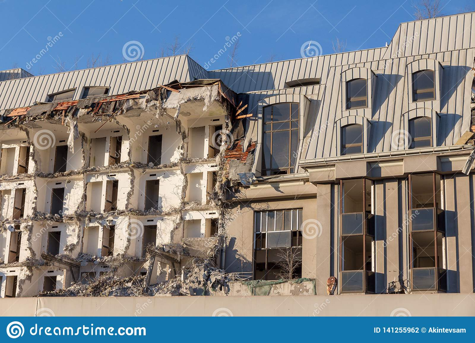 Demolition of a building. destruction in a residential urban quarter