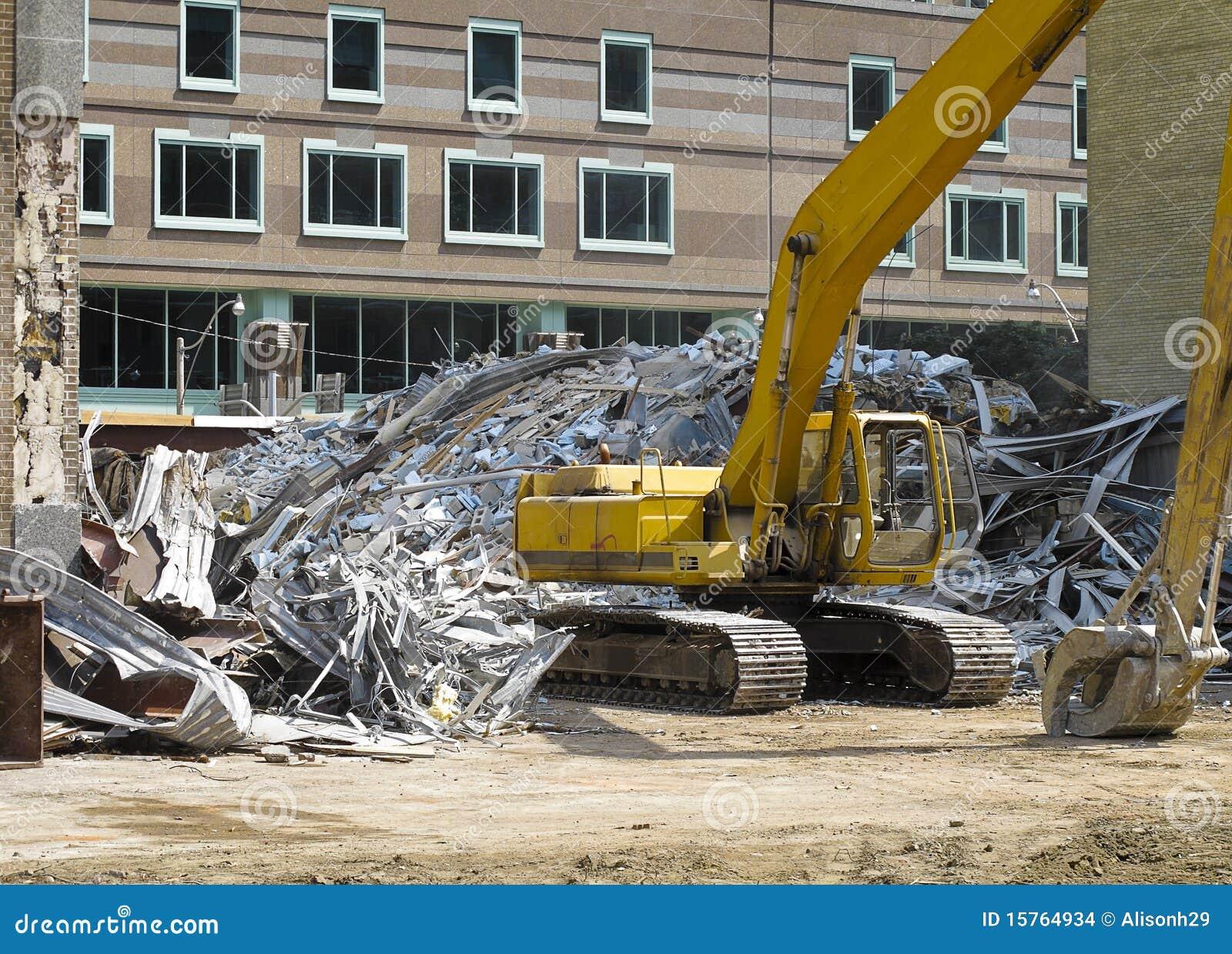 Building Demolition Cartoon : Demolition site in melbourne royalty free stock