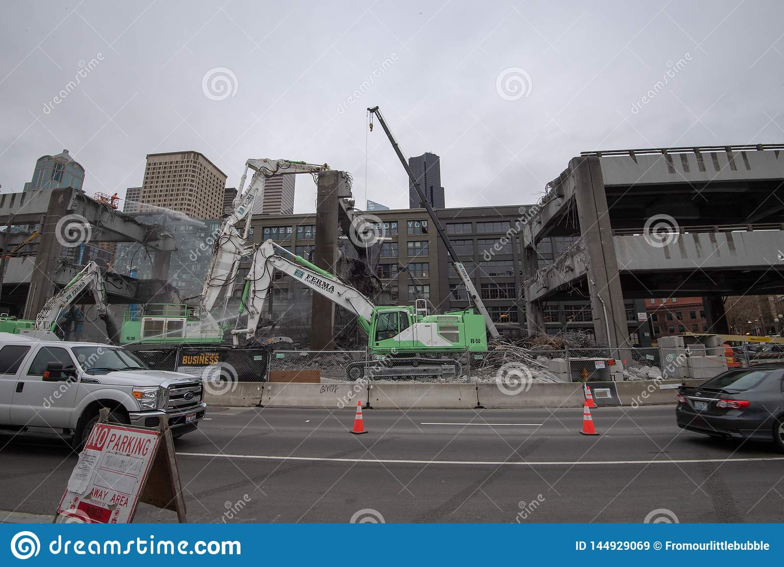 Demolizione del viadotto di Seattle d Alasca & Yesler