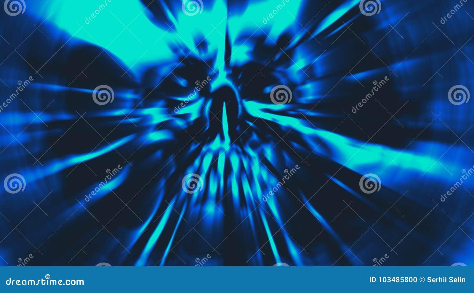Demon blauw hoofd met een gescheurd gezicht Illustratie in genre van verschrikking