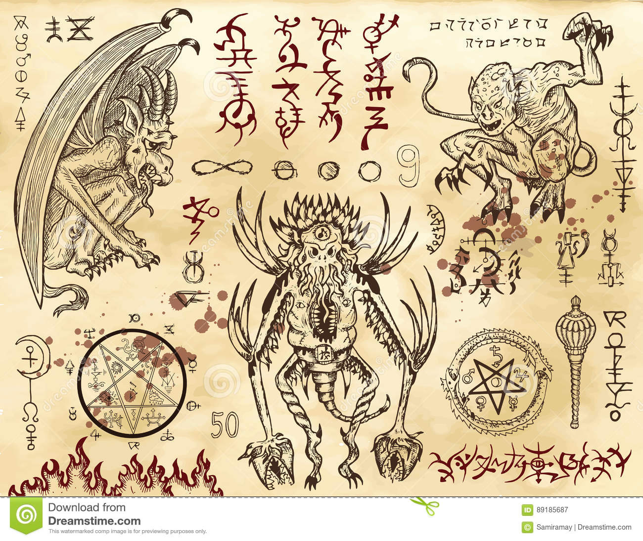 Demon collection with mystic and occult symbols stock vector demon collection with mystic and occult symbols biocorpaavc