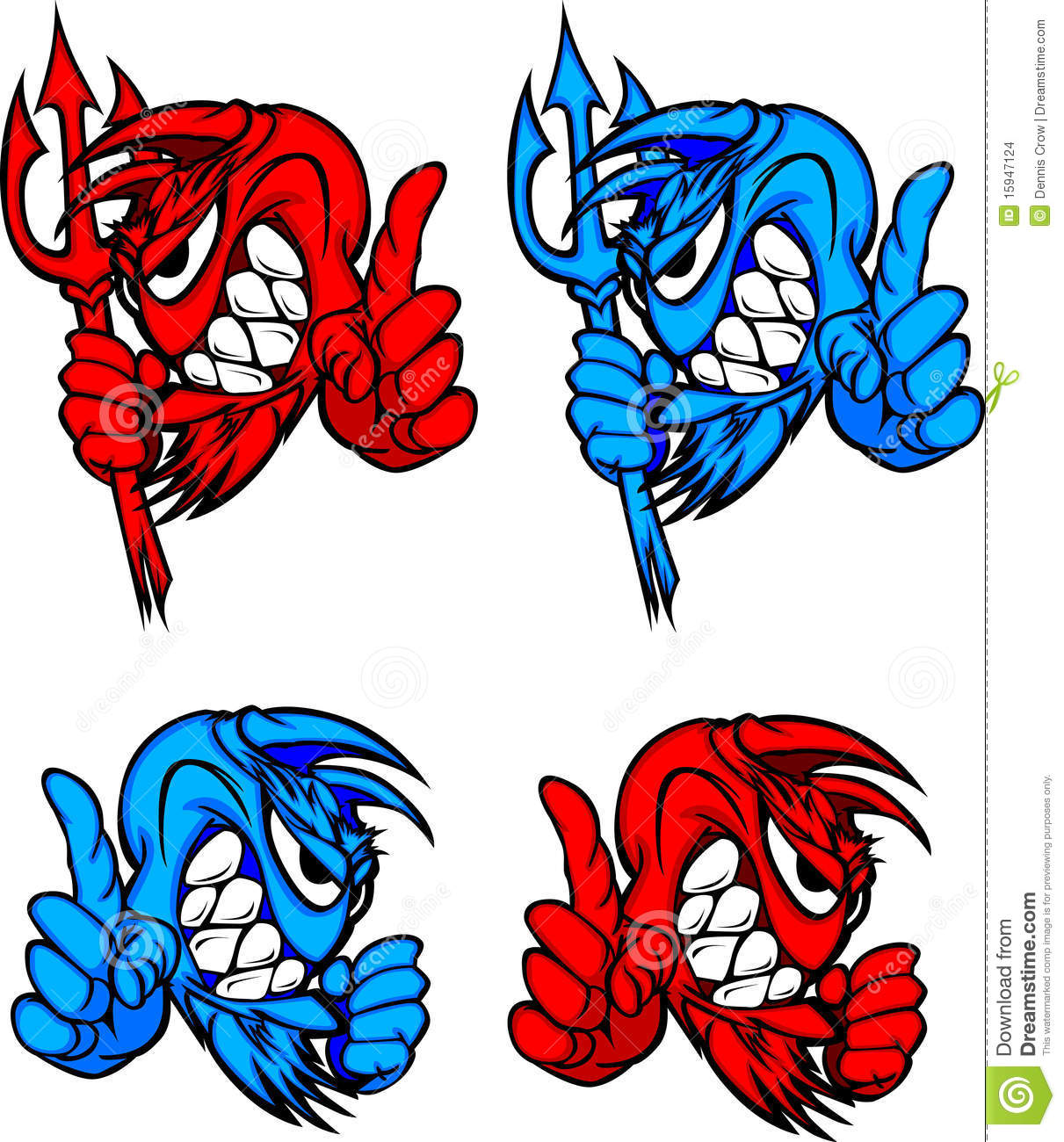 Demon Devil Mascot Vector Logos Stock Images - Image: 15947124